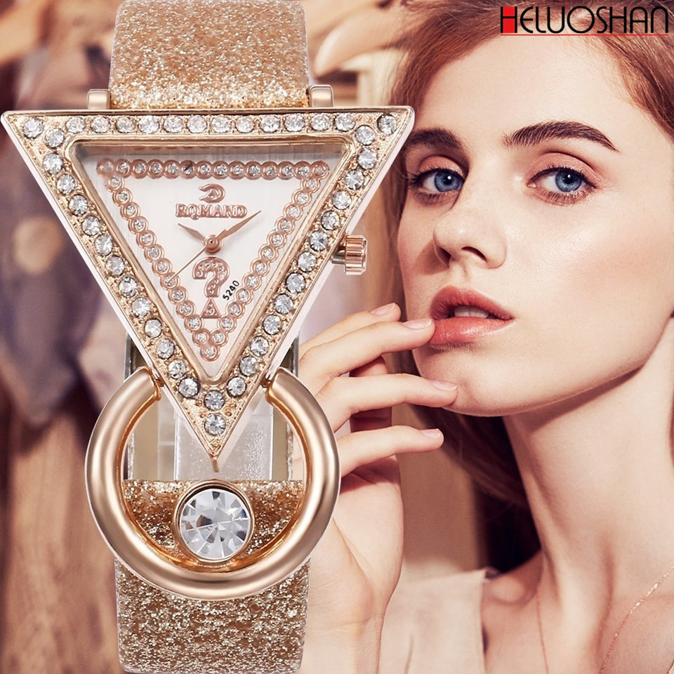 2019 Women Watches Creative Luxury Triangle Rhinestone Dial Frosted Strap Ladies WristWatch Fashion Quartz Watch Relojes Mujer