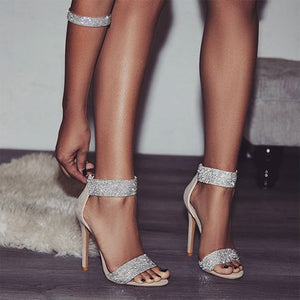 Luxury Rhinestone 2019 Women Sandals Sexy Bling Crystal Super High Heel Women Sandals Elegant Party Shoes Women