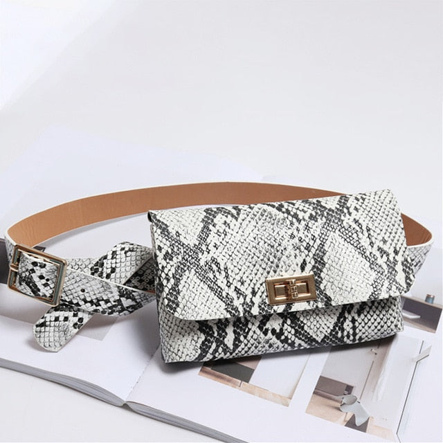 2019Fashion Trend Snake Serpentine Women Button Waist Bag Pack Fanny Leather Snake Skin Waist Belt 5Colors Талия пакет Droppship