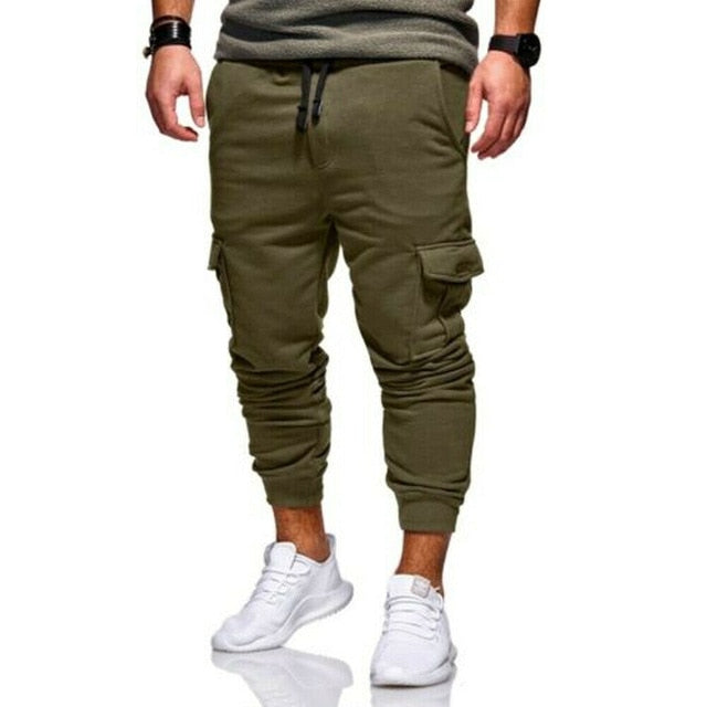 Hot Men Pants Casual Sport Long Pockets Drawstring Cotton Tracksuit Fitness Sport Gym Workout Joggers Trousers