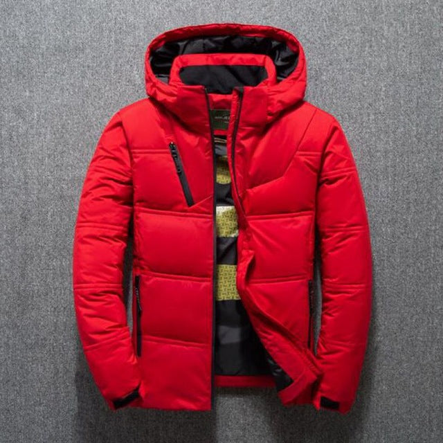 2019 Winter Jacket Mens Quality Thermal Thick Coat Snow Red Black Parka Male Warm Outwear Fashion - White Duck Down Jacket Men