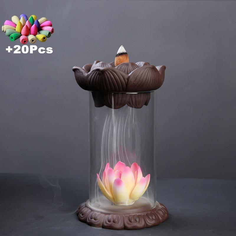 +20Pcs Incense Cones Handmade Windproof Backflow Incense Burner Feng Shui Zen Yoga Desktop Ornaments Chinese Hand Gift Tea Pet