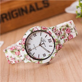 Women Watch Printed Flower Print Analog Alloy Watches Causal Quartz Analog Wristwatch relogio masculino Drop shipping montre fem