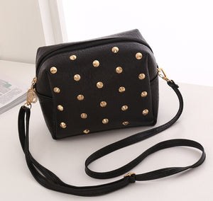 New fashion trend small bag shoulder diagonal package lychee rivet mobile phone bag exquisite wallet