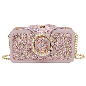 JHD-Sequin Diamond Small Square Bag Trend Fashion Bag Ladies Chain Shoulder Bag
