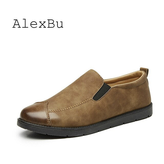 AlexBu 2019 Autumn New Men Casual Shoes Luxury Brand Leather Shoes Men Loafers Men Office Shoes Leather Italian Dress Shoes