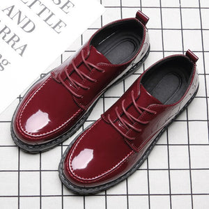 2019 New Bright Leather Men Casual England Mens Shoes  Zapatos De Hombre  Loafers Luxury Shoes Mens Leather Shoes