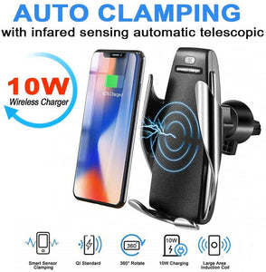 Car Qi Wireless Charger S5 Automatic Clamping Fast Charging Phone Holder Car Mount for iPhone Huawei Samsung Smart Phone