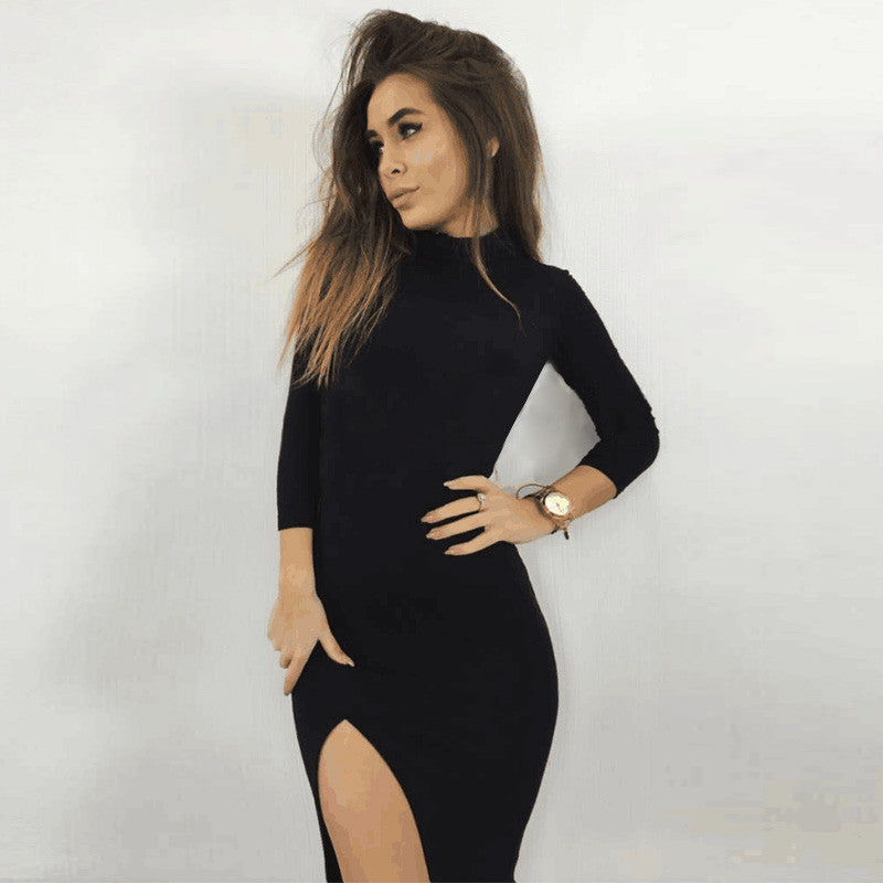 Cotton Turtleneck 2019 Fashion Dress Sexy Side Slit Black Bodycon Dress Women Party Dresses Robes Vestidos