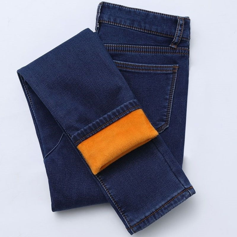 New Winter Thick Fleece Jeans For Women Stretch Warm Skinny Denim Velvet Pencil Jeans Stretch Female Trousers
