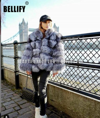 Hand Made Luxury Genuine Real Fox Fur Coat