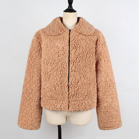 Luxury Short Coat Long Sleeve Women Faux Fur