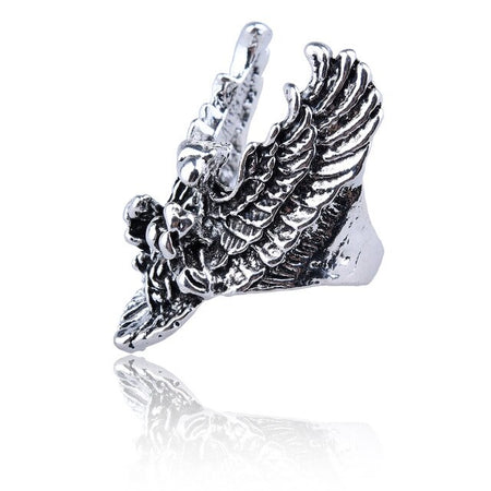 Free Fan Vintage Punk Lion Animal Ring Men Hip Hop Goat Eagle Antique Silver Male Ring Goth Jewelry Anillo Hombre 2019