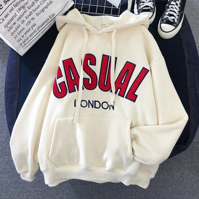 High Quality Hoodies Women Hooded Letter Print Korean Style