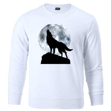 High Quality Moon Wolf Retro Printed Autumn Winter Hoodies Hot Sale