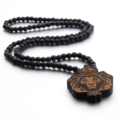 Fashion Long Necklace Men Jewelry Simple Design 128 Beads Wood Necklaces Creative Sweater Accessories  Lion Wood Pendan