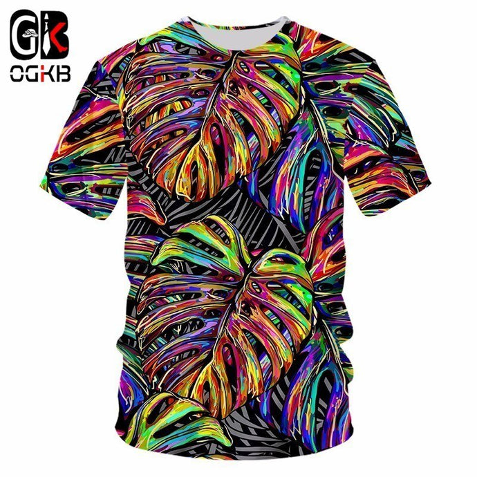 Man/womens 3D Colorful Leaf O Neck Printed T Shirt