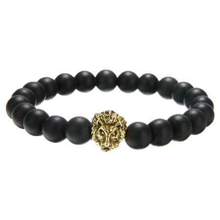 Shellhard Fashion Lion Head Bracelet Buddha beads Bracelets Bangles Charm Natural Stone Bracelet For Men Women Bead Jewelry