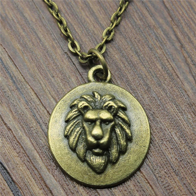 24x20mm Lion Head Tag Pendant Necklace For Women Antique Bronze Color Fashion Necklace Jewelry Accessories