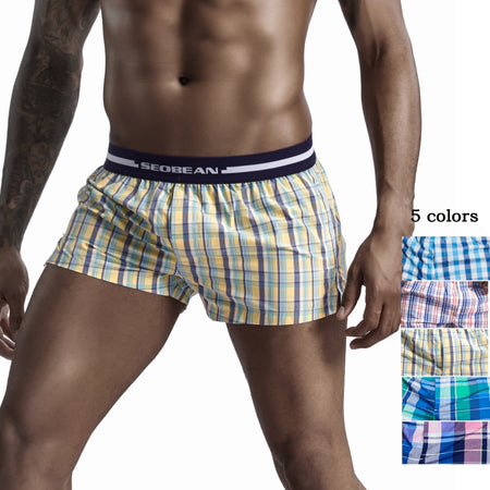 SEOBEAN front open Men Cotton pajama Boxer shorts u bag lined Plaid Tracksuit Home pyjama man sleep Casual Short Cortos hombres
