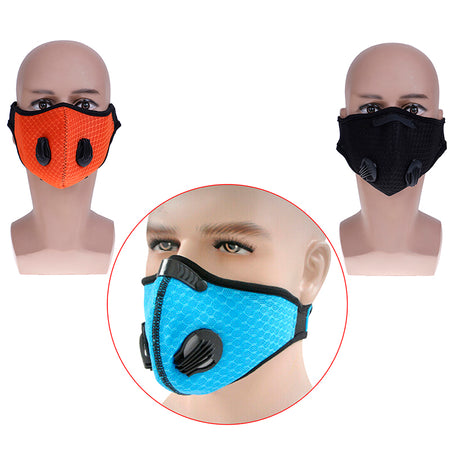 1pc Activated Carbon Filter Windproof Mouth-muffle PM2.5 Anti Dust Mask Multicolor Bacteria Proof Face Masks For Cycling Hiking