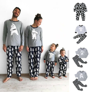 Pudcoco New Casual Family Matching Pyjamas PJs Set Cartoon Bear Kids Sleepwear Nightwear family christmas pajamas