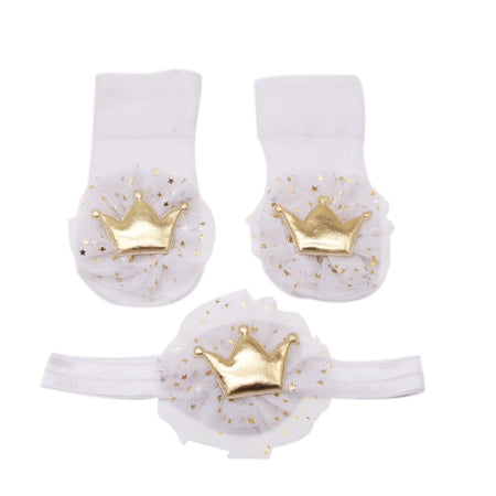 Infat Lovely Baby Cute Lace Cotton Socks with Crown Hairband Photography Props Set 0-24M Newborn Party Gifts 2pcs