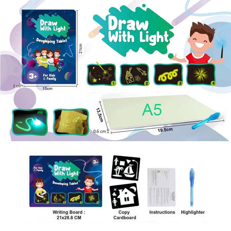 1pcs A3-A5 LED Luminous Drawing Board Graffiti Doodle Drawing Tablet Magic Draw With Light Fun And Developing Toy for Kids Gift