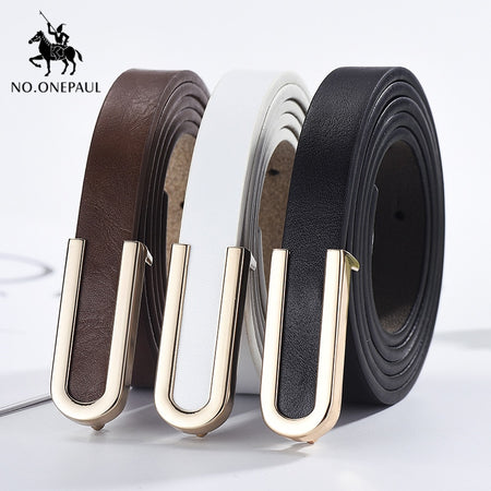 NO.ONEPAUL New fashion alloy buckle retro ladies thin belt wild jumpsuit body figure ladies high quality belts free shipping