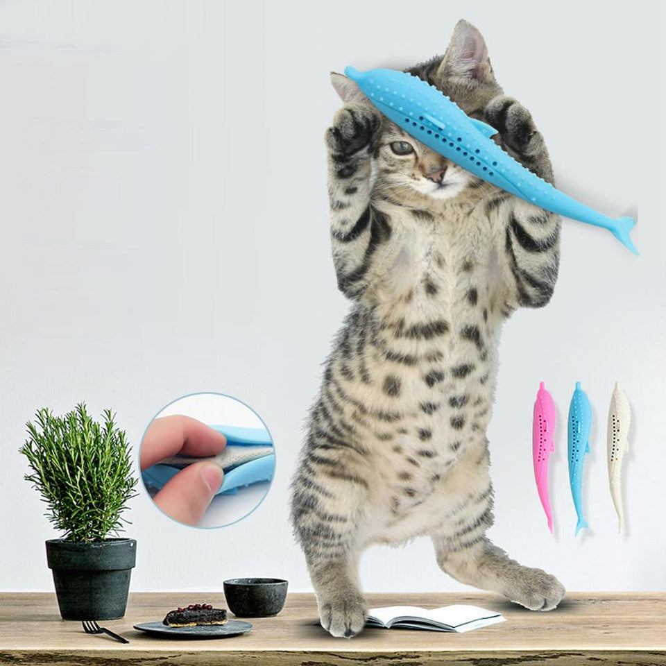 Pet Cat Toothbrush Toy Fish Shape Catnip Flavor Silicone Molar Stick Teeth Cleaning Toy For Cats Kitten Chew Toy Pet Products