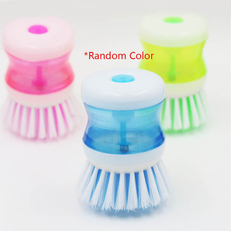 Kitchen Dish Brush With Liquid Soap Dispenser Plastic Pot Dish Cleaning Brush Home Cleaning Products Kitchen Washing Utensils