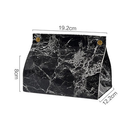 Chic Tissue Case Box Container PU Leather Marble Pattern Home Car Towel Napkin Papers Bag Holder Box Case Pouch Table Decoration
