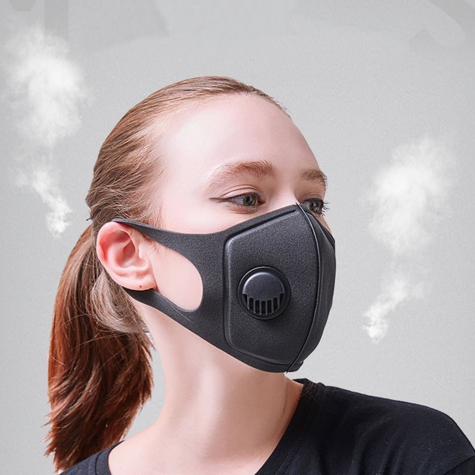 Black Anti Dust Mask PM2.5 Breathing Filter Valve Face Mouth Masks Reusable Mouth Cover Anti Fog Haze Respirator Men Women