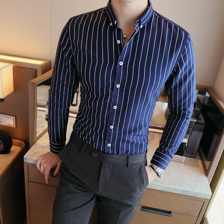 Luxury Men's Striped Dress Shirt