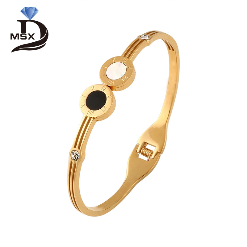 Trendy Gold Plating Bangle Bracelet for Woman Man 316L Stainless Steel CZ Inlaid Luxury Brand Wedding Charming Jewellery Gift