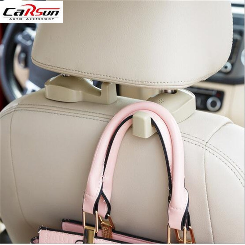 2pcs Car Hook Auto Vehicle Seat Headrest Silica Gel Bag Hook Car Interior Accessories Hanger Holder Hanger Gift Suits