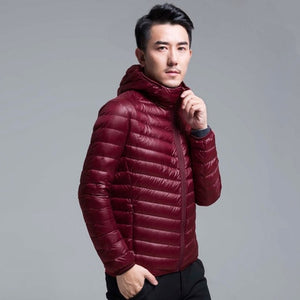 QUANBO Brand Autumn Winter Light Down Jacket Men's Fashion Hooded Short Large Ultra-thin Lightweight Youth Slim Coat 5XL