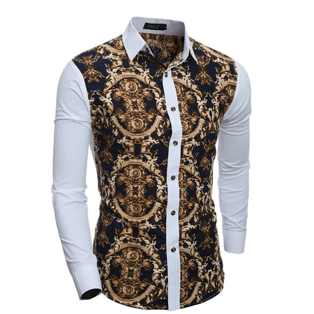 Men Shirt 2019 Spring Summer New 3D Print Patchwork Flower Shirt Fashion Trend Brand Clothing Slim Society Street Shirt Men
