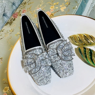 SWYIVY Woman Flats Ballet Shoes Bow Autumn 2018 Luxury Female Loafer Shoes Rhinestone Casual Flat Lady Sequins Flats for woman