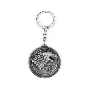 HOT Game of Thrones Keychain set House Stark Wolf Head series Key rings High quality Targaryen Dragon Alloy pendant men jewelry