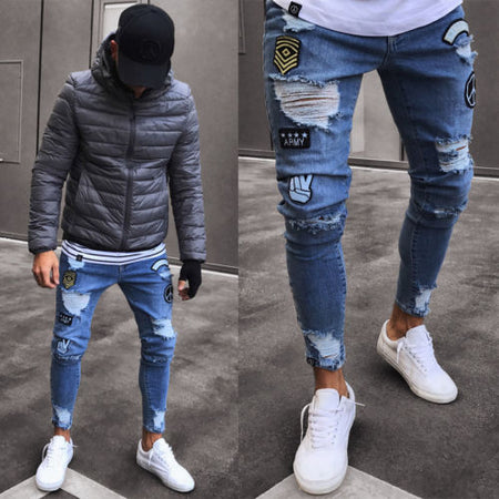 Thefound Mens Stretchy Ripped Skinny Biker Jeans Destroyed Taped Slim Fit Fashion Denim Pant USA