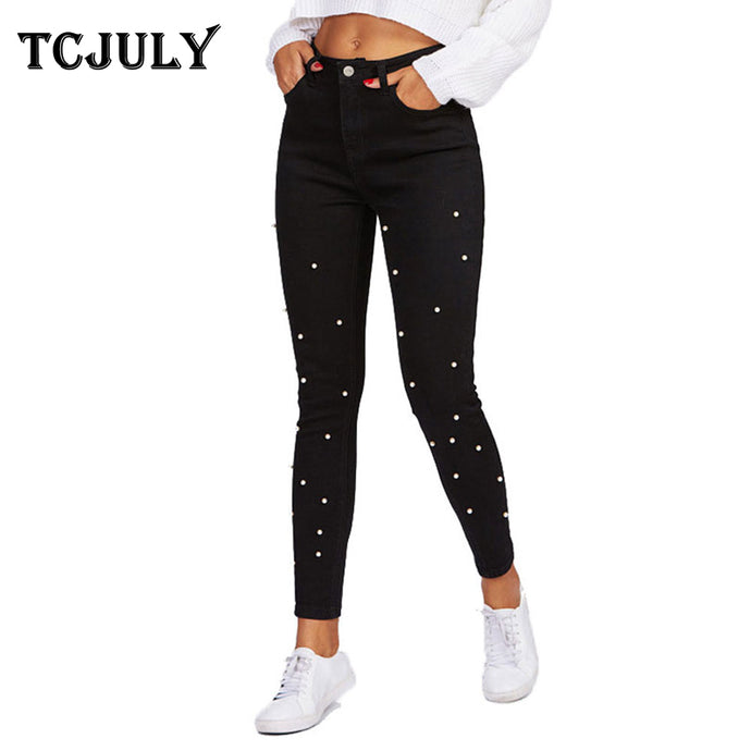 New Women Autumn Winter stretched  Pearl Jeans