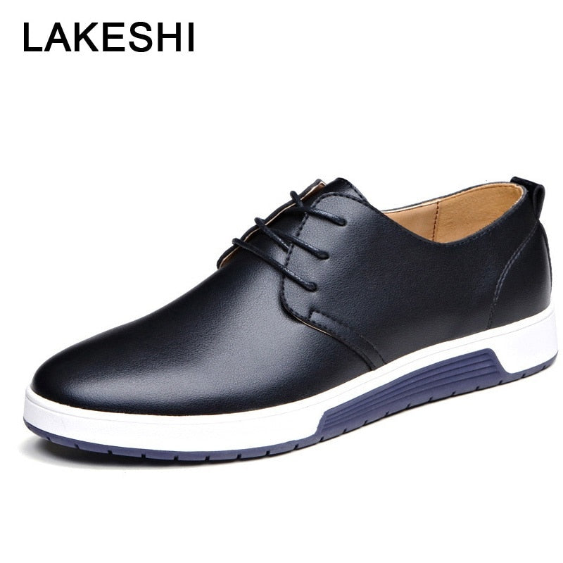 LAKESHI Luxury Brand Men Shoes Casual Leather Shoes Men Fashion Moccasins Loafers Trendy Black Flat Shoes For Men Oxfords Shoes