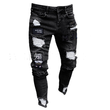 High Quality 3 Styles Men Stretchy Ripped Skinny Biker Embroidery Print Jeans