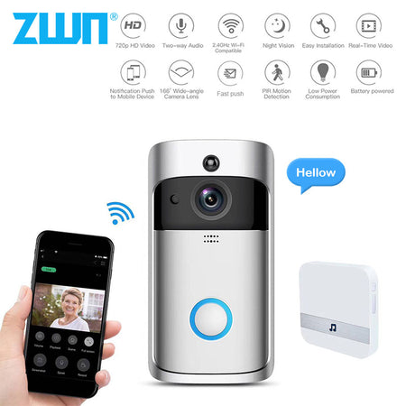 ZWN Smart Doorbell Camera 720P Wifi Wireless Call Intercom Video-Eye for Apartment door bell Ring for phone Home Security Camera