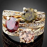Hot Fashion Women's Luxury Cubic Zirconia Crystal  Gold-color Ring Cocktail Party Jewelry NY79 7G3P BD1U
