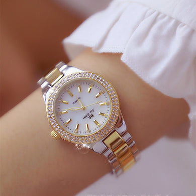 2019 Luxury Brand lady Crystal Watch Women Dress Watch Fashion Rose Gold Quartz Watches Female Stainless Steel Wristwatches