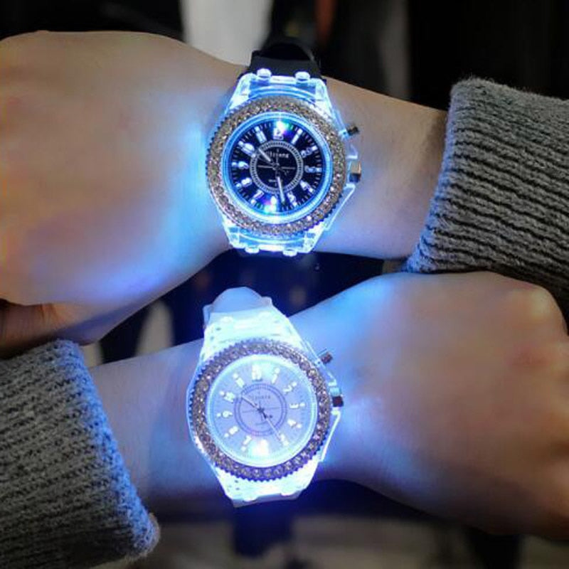 Silicone LED Luminous Fashion Ladies Outdoor Watch Women's Men colorful Sports WristWatches Children'sWrist Relogios Masculino