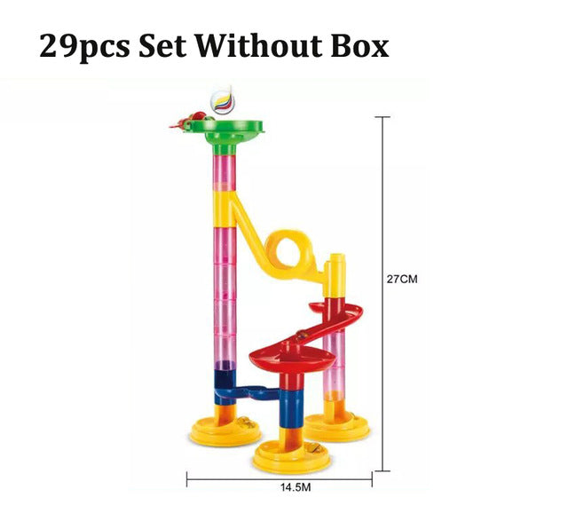 29/80/105pcs Set DIY Construction Marble Race Run Track Building Blocks Kids Maze Ball Roll Toys Christmas Gift