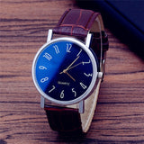 2019 Mens Watches Top Brand Luxury Casual Watch Clock  Fashion Faux Leather Mens  Quarts Watches Blue Ray Men Wrist Watch A Gift